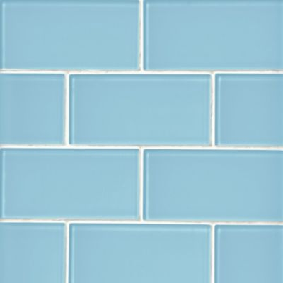 glass sky blue subway wall and floor tile 3 x 6 in