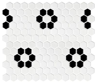 hex matte white with black flower porcelain wall and floor tile