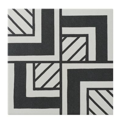 metropolitan black and white porcelain wall and floor tile 8 x 8 in