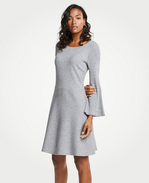 Dresses  Casual  Professional   Party Silhouettes   ANN TAYLOR Pleated Flare Sleeve Sweater Dress