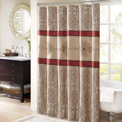 Buy Madison Park Donovan 72 Inch Shower Curtain In Red From Bed Bath Amp Beyond