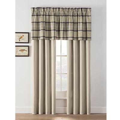 norfolk plaid 84 inch rod pocket window curtain panel pair in khaki
