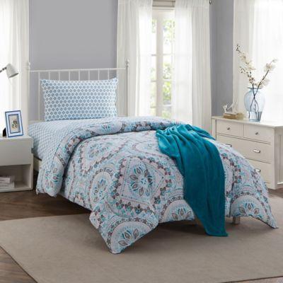 Montoya 16 Piece Twin Twin Xl Comforter Set In Teal Bed