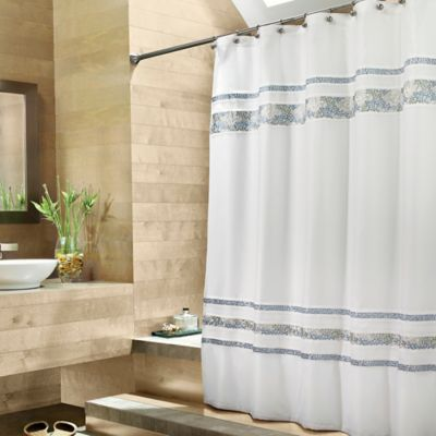 Croscill Spa Tile 72 Inch X 84 Inch Fabric Shower Curtain In White Bed Bath Amp Beyond