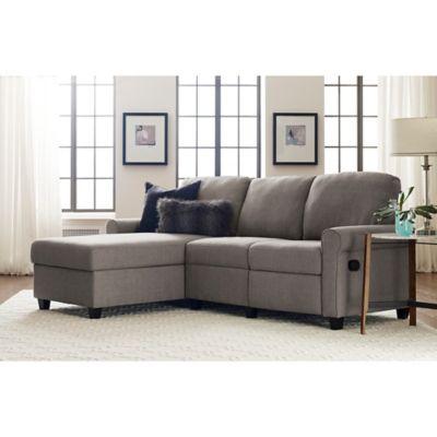 serta copenhagen left facing reclining sectional sofa with storage in grey