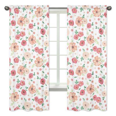 sweet jojo designs watercolor floral 84 inch window curtain panel pair