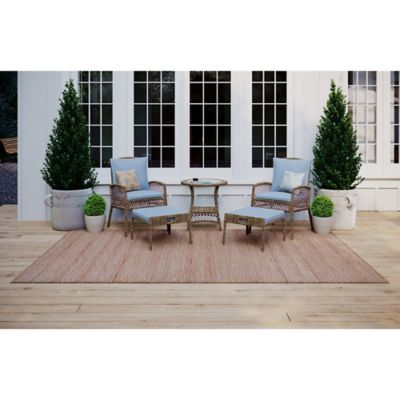 bee willow home providence 5 piece metal and wicker patio conversation set in brown