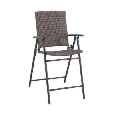 barrington wicker high folding patio chairs in brown set of 2