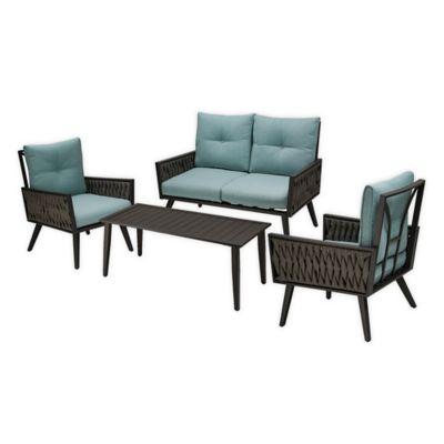modern 4 piece patio set in blue cream