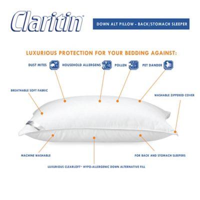 claritin ultimate allergen barrier clearloft embossed back stomach sleeper pillow