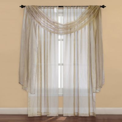 Strive Sheer Window Curtain Panel And Scarf Valance Bed Bath Amp Beyond