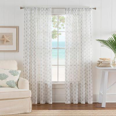Nautical Anchor Rod Pocket Sheer Window Curtain Panel In WhiteBlue Bed Bath Amp Beyond