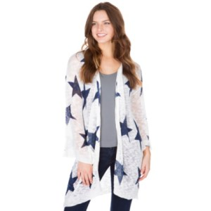 Womens   Cowboys Catalog   Dallas Cowboys Pro Shop Studio Blank Paige Star Knit Open Cardigan