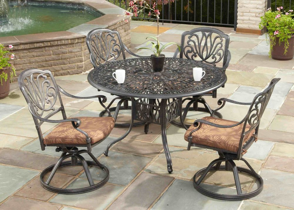Nardi Giove Resin Patio Dining Set With 4 Elba Side Chairs