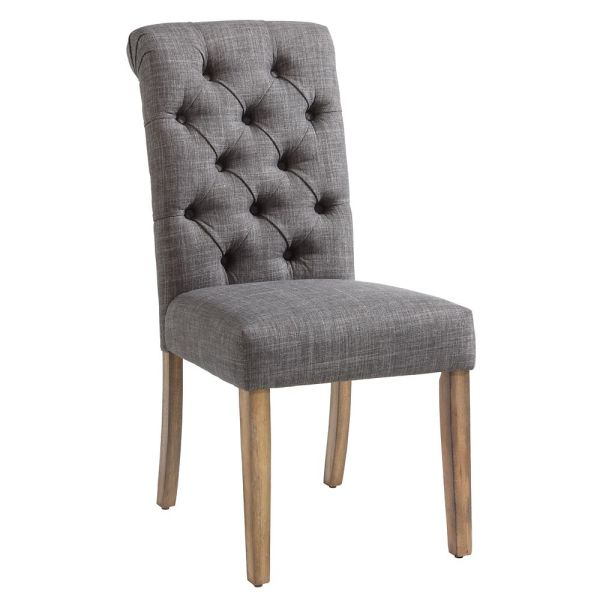 nspire Melia Wood Grey Parson Armless Dining Chair with Grey Fabric     Melia Wood Grey Parson Armless Dining Chair