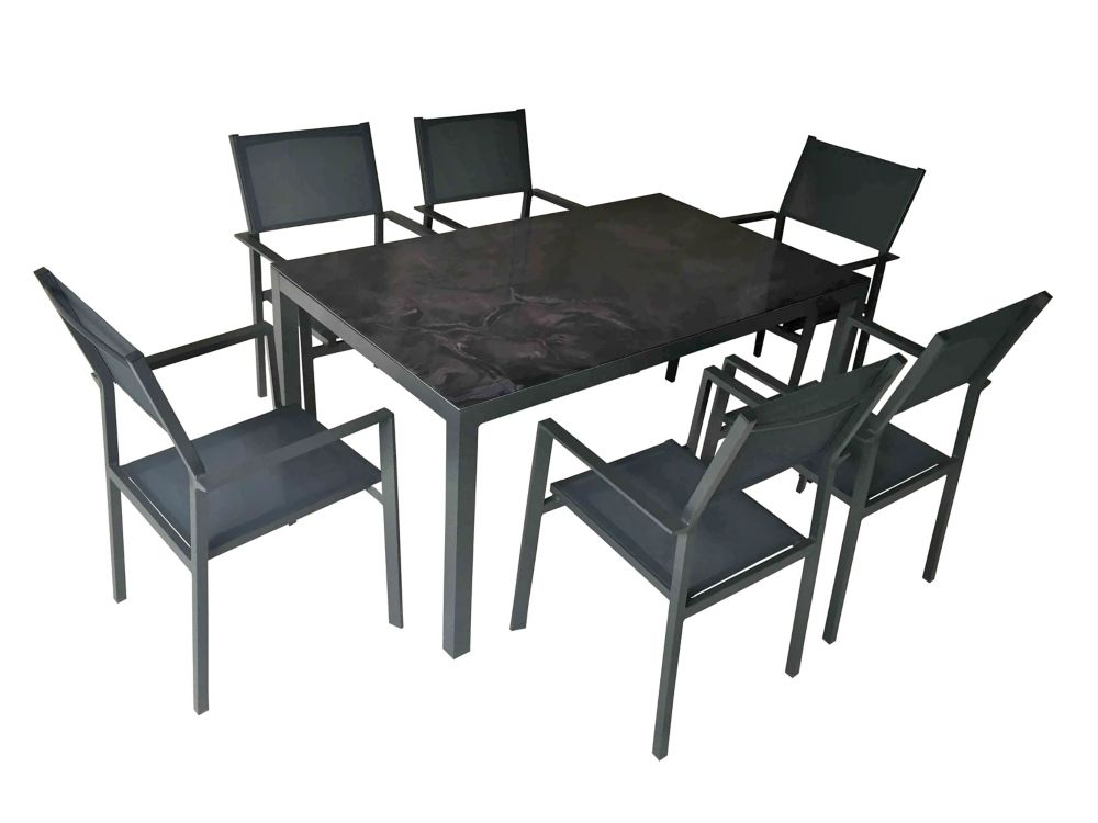 henryka 7 piece patio dining set with rectangular table