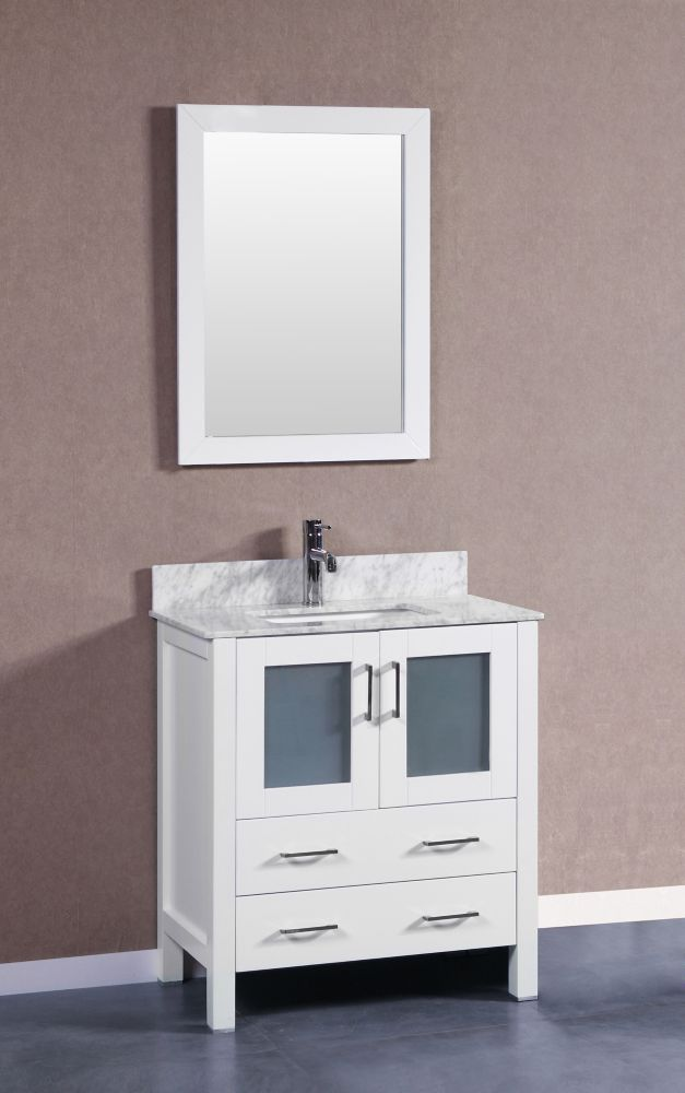 Bosconi 30 Inch W X 18 Inch D Bath Vanity In White With Carrara Marble Vanity Top In White