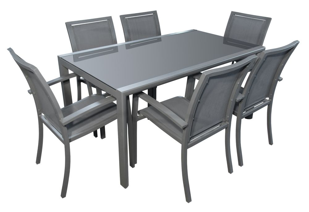 Henryka 7-Piece Patio Dining Set In Charcoal Grey