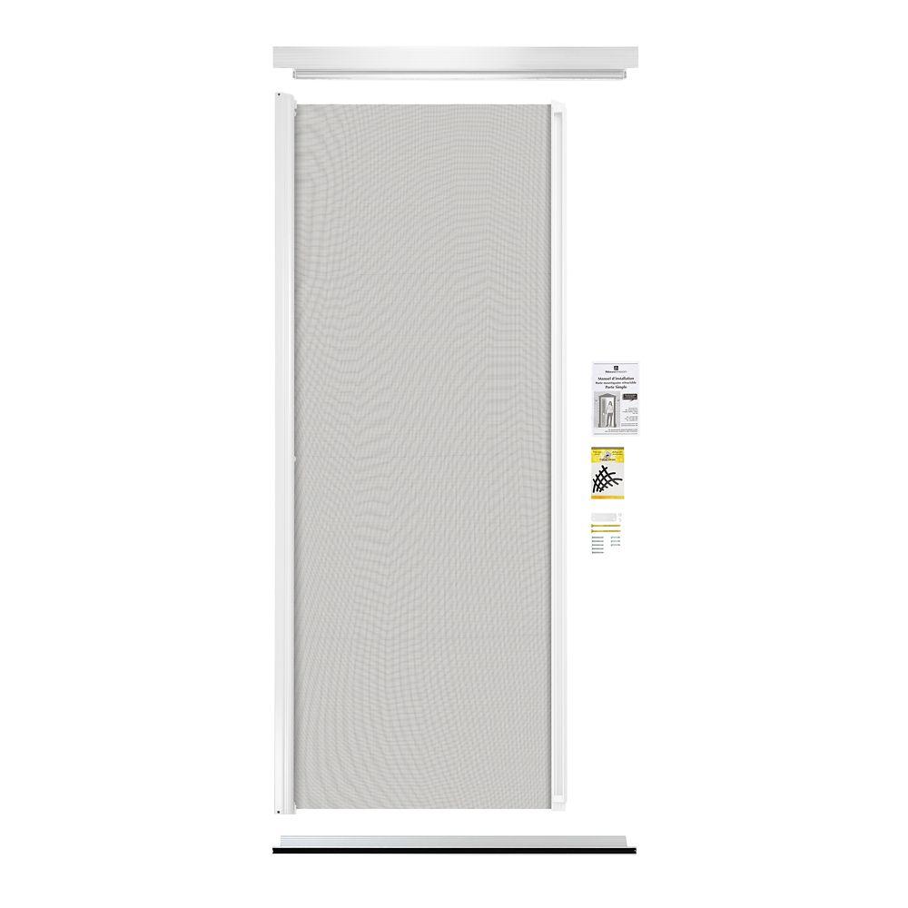 Revelation Retractable Screen Single Entrance Door White The