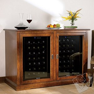 Siena Mezzo Wine Credenza and Two 28 Bottle Touchscreen Wine Refrigerators