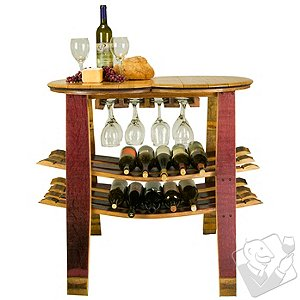 Reclaimed Wine Barrel Console with Wine Glass Rack