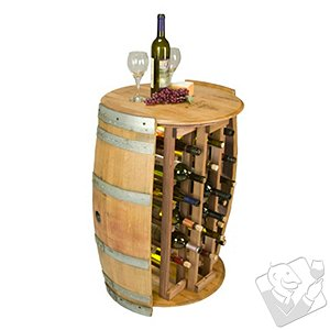 28 Bottle Wine Barrel Wine Rack with Barrel Head Top