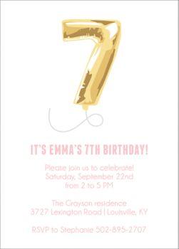 seven balloon birthday party invitation