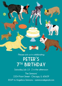 dog party birthday party invitation