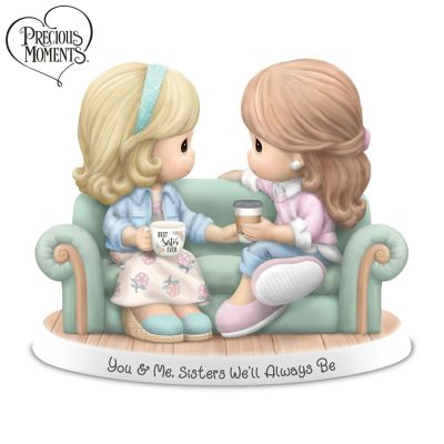 Precious Moments You Me Sisters Well Always Be Hand Painted Bisque Porcelain Figurine Featuring Glittery Accents