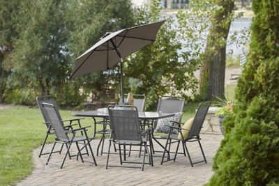 alcove arrowhead 8 pc outdoor patio dining set with folding chairs and umbrella