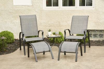 alcove kingsley outdoor patio 5 pc chair ottoman and table chat set