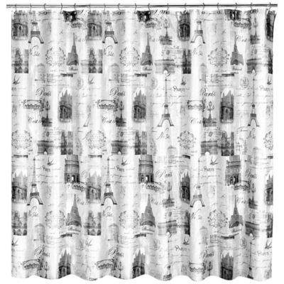 popular home paris stamps shower curtain set