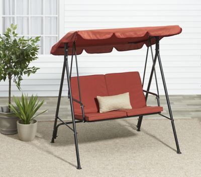 alcove aberdeen 2 person outdoor patio swing with canopy rust