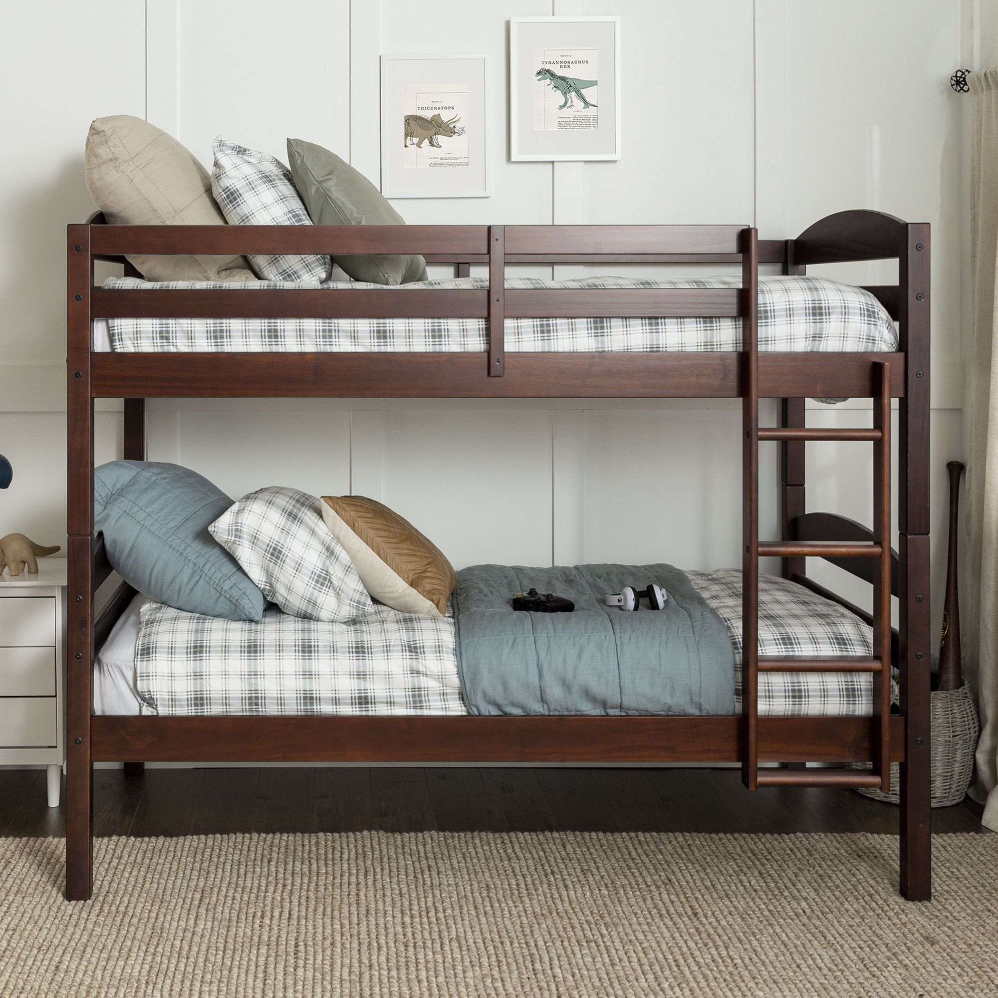 W Trends Twin Size Solid Wood Bunk Bed Espresso