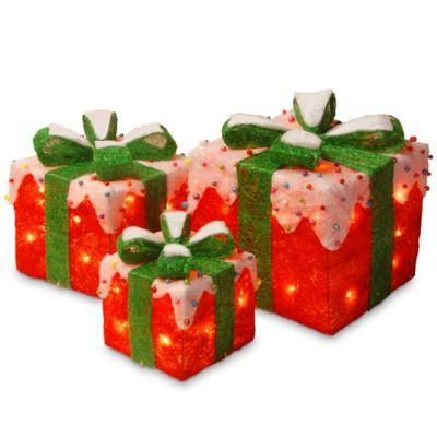 National Tree Company 10 Inch Pre Lit Red Sisal Gift Box