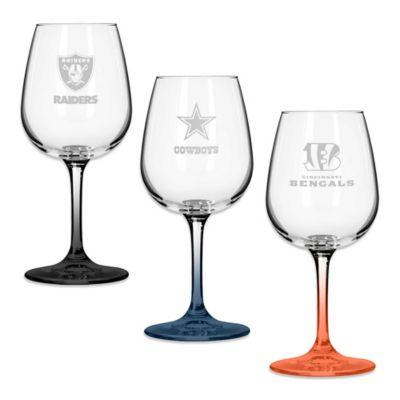 NFL Team Logo Satin Etched Wine Glasses Set Of 2 Bed