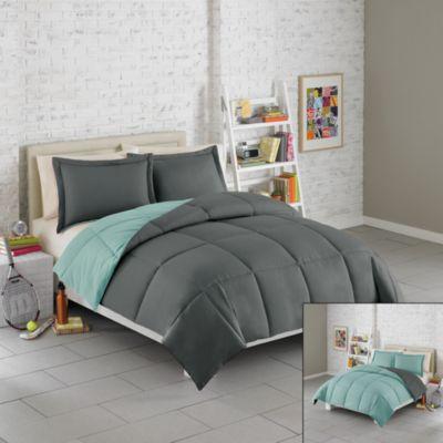 Solid Reversible Microfiber Twin Comforter Set TealGrey