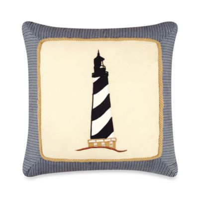 Atlantic Isle Lighthouse Appliqu Square Pillow Bed Bath