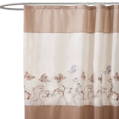 Buy Butterfly Dreams Beige Fabric Shower Curtain From Bed Bath Amp Beyond