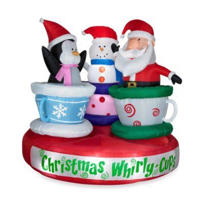 Inflatable Outdoor 6 Foot Animated Tea Cup Santa Snowman