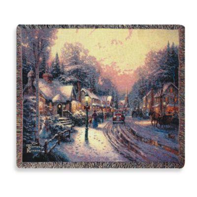 Thomas Kinkade Holiday Village Christmas Throw Blanket