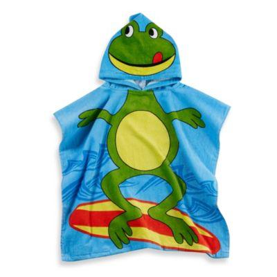 Kids Printed Frog Hooded Beach Towel In GreenBlue