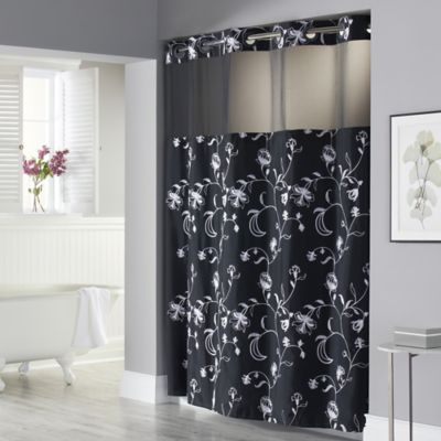 Hookless 71 Inch X 74 Inch Fiona Shower Curtain And Liner In Black And White Bed Bath Amp Beyond