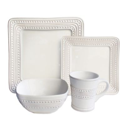 American Atelier Bianca Dotted Square 16 Piece Dinnerware