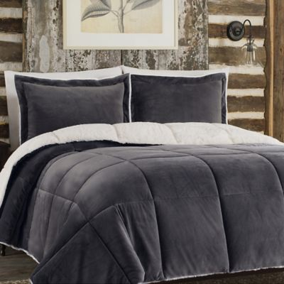 So Soft Plush Reversible Comforter Set In Grey Bed Bath Amp Beyond