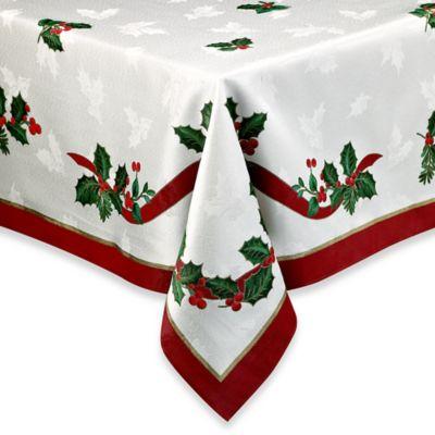 Holiday Ribbon Damask Tablecloth Bed Bath Amp Beyond