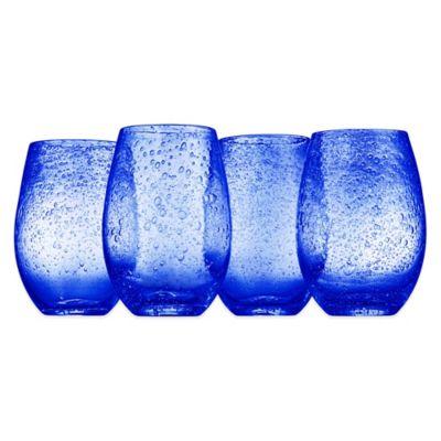 Artland Iris Stemless Wine Glasses In BlueSet Of 4