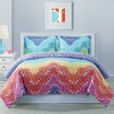 Lace Chevron Reversible Comforter Set In Rainbow Bed