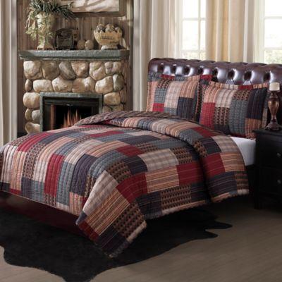 Gunnison Quilt Set In BrownRedBlue Bed Bath Amp Beyond