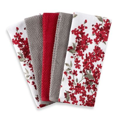 Cherry Blossom 5 Pack Kitchen Towel Set In RedWhite Bed
